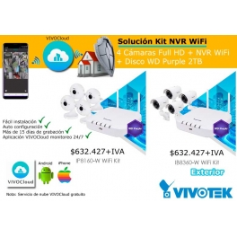 KIT NVR WIFI VIVOTEK 4 CAMARAS FULL HD