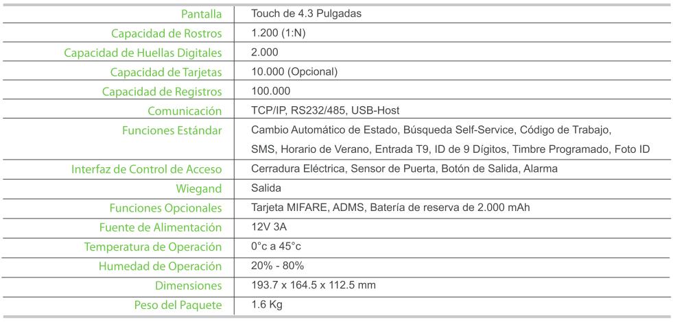 Características UFace 202-ID